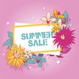 Ilustração tropical do vetor das flores Bandeira do projeto do verão, cartaz, folheto, inseto Fundo da venda do verão para a loja ilustração do vetor
