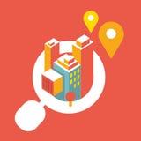 Ilustração: uma cidade grande cresce para fora a lente de aumento Ilustração Stock
