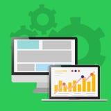 Ilustração uma tela do portátil, o conceito de projeto do gráfico Fotos de Stock Royalty Free