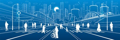Ilustração urbana da infraestrutura da cidade Povos que andam na rua Cidade moderna Movimento do trem na ponte Estrada iluminada  ilustração stock