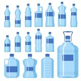 Ilustração vazia fluida do molde da silhueta do molde do aqua líquido limpo azul plástico da natureza da placa do vetor da garraf ilustração stock