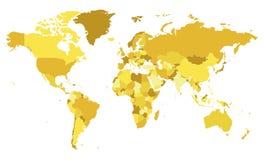 Ilustração vazia política do vetor do mapa do mundo com tons diferentes do amarelo para cada país ilustração royalty free