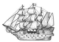 Ilustração velha do barco de navigação, desenho, gravura, tinta, linha arte, vetor ilustração stock