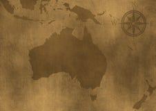 Ilustração velha do mapa de Austrália do grunge Fotografia de Stock