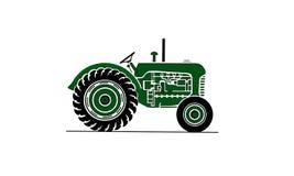Ilustração velha do trator de exploração agrícola no verde Imagens de Stock
