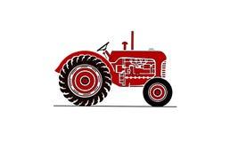 Ilustração velha do trator do fram no vermelho Imagens de Stock Royalty Free