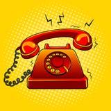 Ilustração velha encarnado do vetor do pop art do telefone Fotografia de Stock Royalty Free