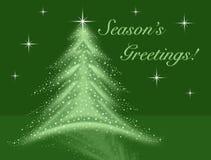 A ilustração verde da árvore de Natal com estrelas sparkles reflexão e céu noturno ilustração royalty free