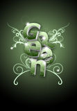 Ilustração verde da arte da letra do redemoinho da flor Imagens de Stock Royalty Free
