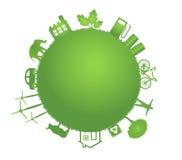 Ilustração verde do planeta da ecologia Fotografia de Stock