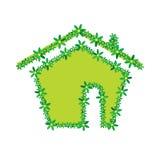 Ilustração verde do vetor da casa da flor Fotos de Stock Royalty Free