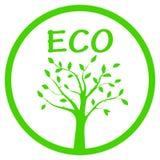 Ilustração verde do vetor da silhueta da árvore no quadro redondo Imagem de Stock Royalty Free