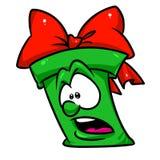 Ilustração verde dos desenhos animados do medo do presente ilustração royalty free