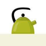 Ilustração verde lisa da chaleira do vetor Foto de Stock Royalty Free