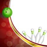 Ilustração vermelha abstrata da bola do boliches green da fita do ouro do fundo Fotografia de Stock