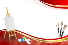 Ilustração vermelha abstrata do quadro da fita do ouro amarelo de escova de pintura da imagem da armação do fundo Foto de Stock