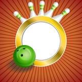 Ilustração vermelha abstrata do quadro do círculo do ouro da bola do boliches green do fundo Imagens de Stock Royalty Free