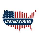 Ilustração vermelha, azul e branca do Estados Unidos do mapa ilustração do vetor