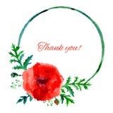 Ilustração vermelha da aquarela da flor da papoila isolada no fundo branco, quadro do rond, pintura artística tirada mão do vetor Imagens de Stock