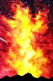 Ilustração vermelha da aquarela da montanha do amarelo da galáxia do fogo ilustração stock