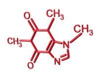 Ilustração vermelha da estrutura química 3d da molécula da cafeína Imagem de Stock Royalty Free