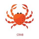 Ilustração vermelha do ícone do vetor dos desenhos animados do caranguejo Foto de Stock Royalty Free