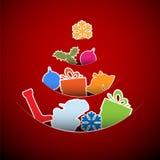 Ilustração vermelha do cartão de Natal do vetor simples Imagem de Stock