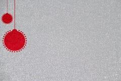 Ilustração vermelha do fundo da bola do Natal do brilho Fotografia de Stock Royalty Free