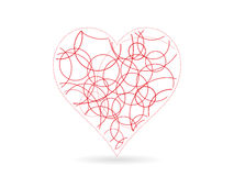 Ilustração vermelha do molde do gráfico de vetor da forma do coração do garrancho Fotografia de Stock Royalty Free