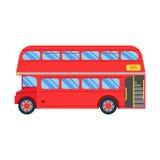 Ilustração vermelha do ônibus do ônibus de dois andares, projeto liso Ônibus retro do veículo do serviço de transporte público da Foto de Stock Royalty Free