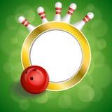 Ilustração vermelha do quadro do círculo do ouro da bola do boliches verde abstrato do fundo Imagem de Stock Royalty Free