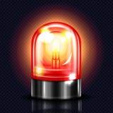 Ilustração vermelha do vetor da luz 3D do alarme da sirene ilustração do vetor
