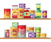 Ilustração vermelha do vetor da sopa e das conservas alimentares do tomate ilustração stock