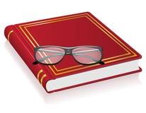 Ilustração vermelha do vetor do livro e dos vidros ilustração stock