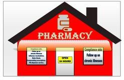 Ilustração vermelha e branca quente de uma farmácia ilustração do vetor