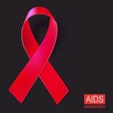 Ilustração vermelha realística do vetor da fita no fundo preto Símbolo do SIDA, VIH, doença cardíaca, sinal da conscientização do Fotografia de Stock