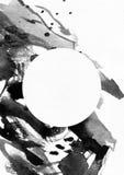 Ilustração vertical da quadriculação no papel branco da aquarela A tinta líquida preta espirra, lambuza e as manchas decoradas co Imagem de Stock