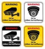 Ilustração video do vetor do sinal de aviso da fiscalização ilustração do vetor