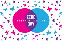 Ilustração zero do dia da discriminação com círculo da borboleta e das duas interseções com cor diferente foto de stock