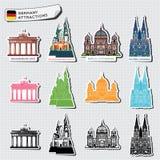 Ilustrações abstratas de atrações de Alemanha Fotografia de Stock Royalty Free