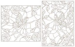 Ilustrações ajustadas do contorno do vitral com fadas fabulosas em um fundo de plantas de florescência Fotografia de Stock Royalty Free