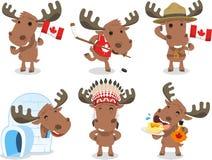 Ilustrações canadenses dos desenhos animados dos alces Fotos de Stock Royalty Free