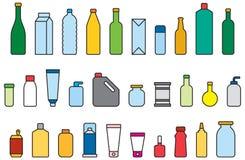 Ilustrações coloridas da garrafa Fotos de Stock