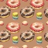 Ilustrações da aquarela da filhós isoladas no fundo branco Teste padrão sem emenda com os anéis de espuma coloridos com esmalte e imagem de stock royalty free