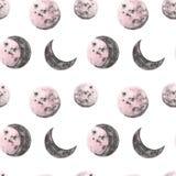 Ilustrações da aquarela da lua completa e meia Teste padr?o sem emenda das fases da lua Fundo do espaço com planetas cor-de-rosa  ilustração royalty free