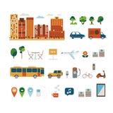 Ilustrações da cidade ajustadas Fotos de Stock Royalty Free