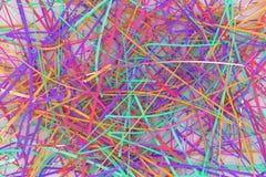 Ilustrações da composição do cgi, de cordas desarrumados, do contexto virtual para o projeto gráfico ou dos papéis de parede 3d r imagem de stock