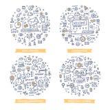 Ilustrações da garatuja da automatização do mercado Grupo 1 ilustração royalty free