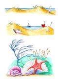 Ilustrações da praia do verão isoladas sobre o branco Fotos de Stock Royalty Free