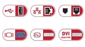 Ilustrações das portas das conexões de PC Imagens de Stock Royalty Free